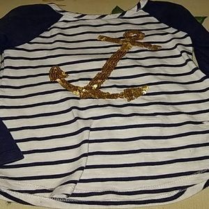 Other - Girls navy blue and white anchor shirt